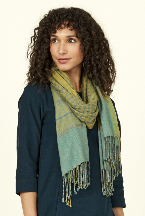 Citrine Green Fair Trade Check Scarf