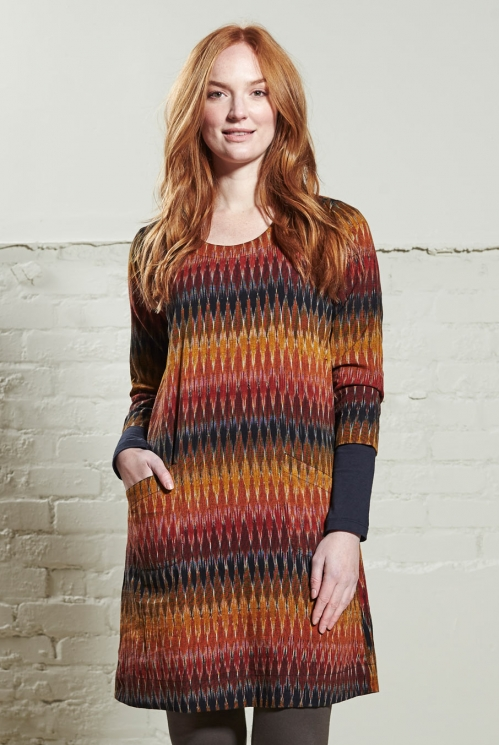 Cinnamon Ikat Tunic Dress