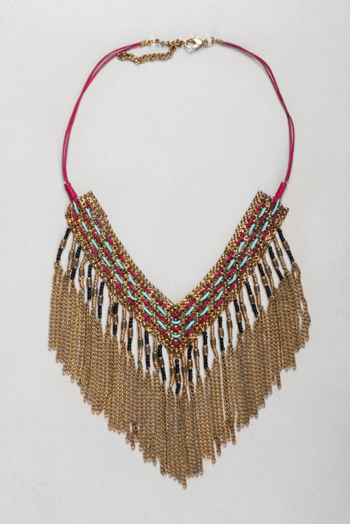 Spice Red Beaded Fringe Necklace
