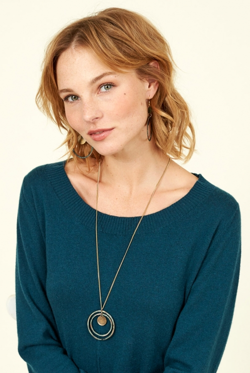 Sustainable Biscay Blue Patina Loop Necklace