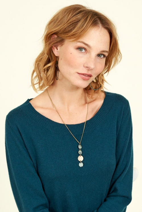 Ethical jewellery Biscay Blue Patina Drop Necklace