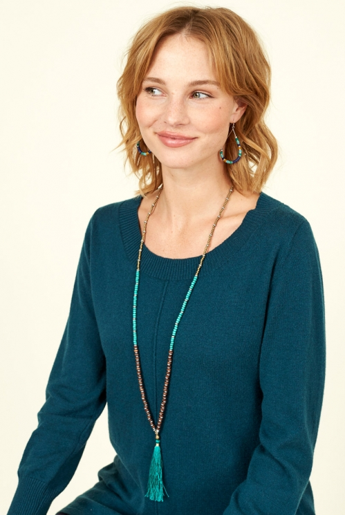 Teal Sustainable Large Tassle Necklace
