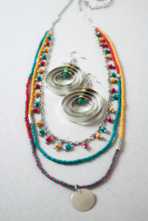 Turquoise Blue Fair Trade Layered Bead Ocean Necklace