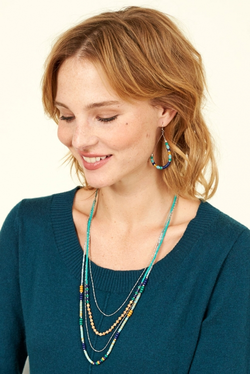 Blue Sustainable Sari Necklace