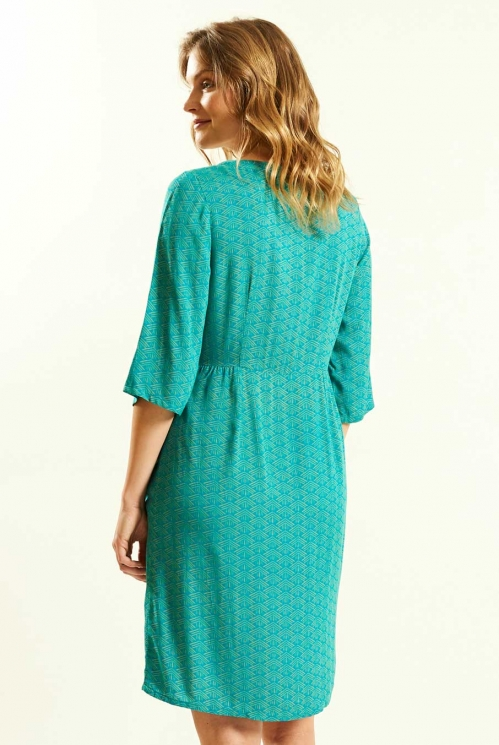 Kimono Tunic Dress in Lagoon - back view