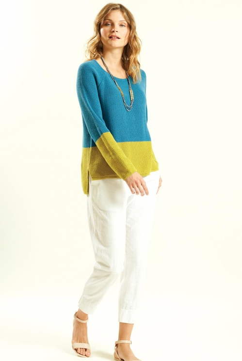 Colour Block Jumper in 100% Organic Cotton  xtra view of Lagoon