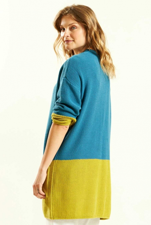 Colour Block Cardi in Lagoon - back view