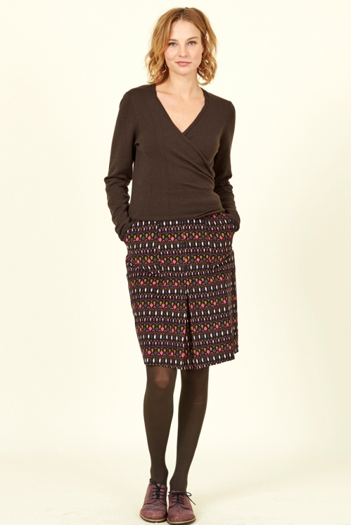 Sustainable Chocolate Brown Merino Wool Blend Wrap Cardigan