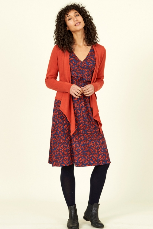 Saffron Red Ethically Made Merino Wool Blend Wrap Cardigan
