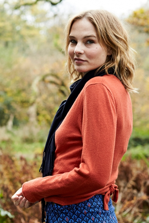 Saffron Red Sustainable Merino Wool Blend Wrap Cardigan