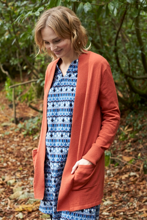 Saffron Red Fair Trade Merino Wool Long Cardigan