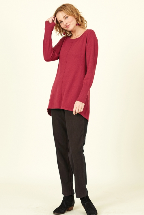Damask Red Sustainable Scoop Hem Merino Wool Jumper