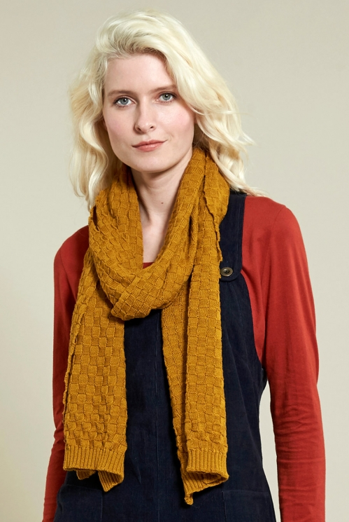 Gold Squares Knitted Scarf