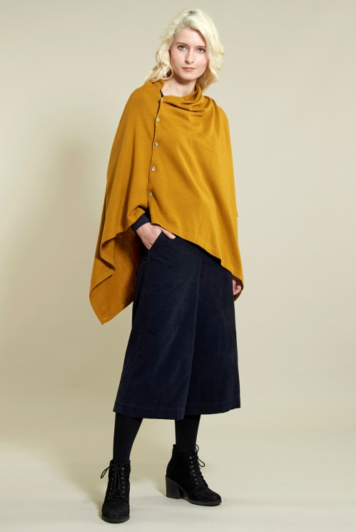 Button Poncho in 40% Wool 60% Cotton xtra view of Gold