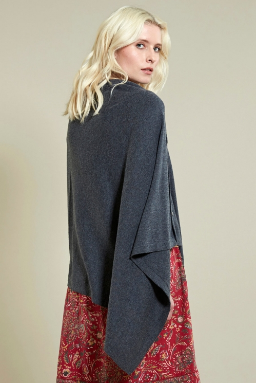Button Poncho in Granite - back view