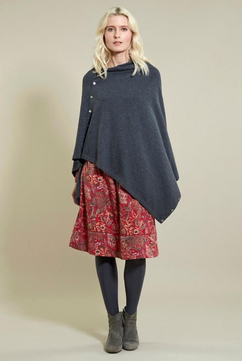 Button Poncho in 40% Wool 60% Cotton xtra view of Granite