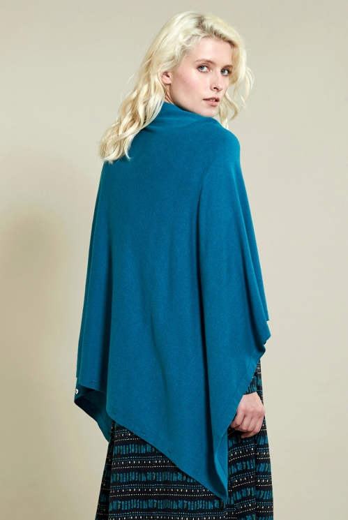 Winter Turquoise Button Poncho (back)