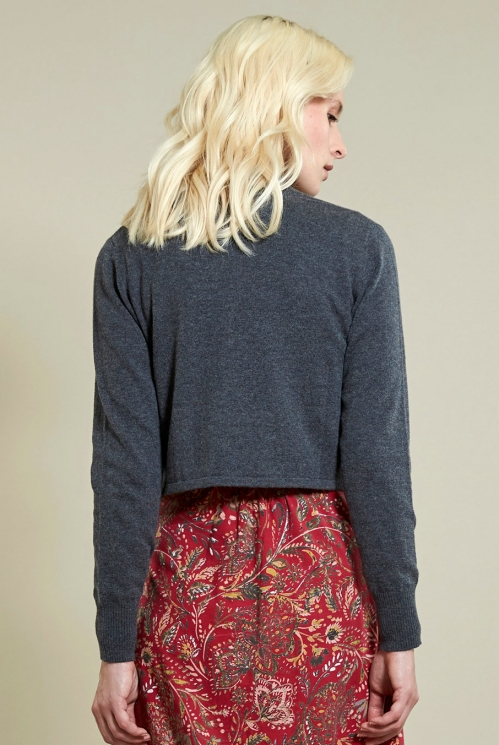 Crop Cardi in Granite - back view