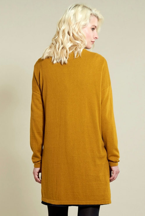 Long Pocket Cardi in Gold - back view