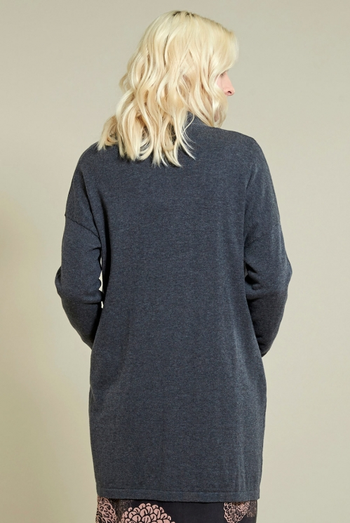 Long Pocket Cardi in Granite - back view