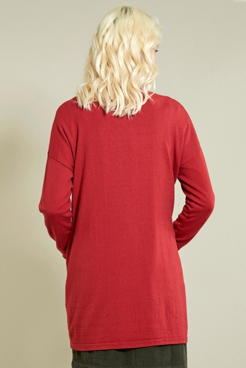 Long Pocket Cardi in Rubine - back view