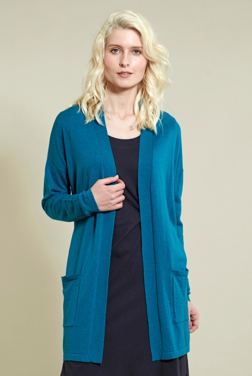 Winter Turquoise Long Pocket Cardi