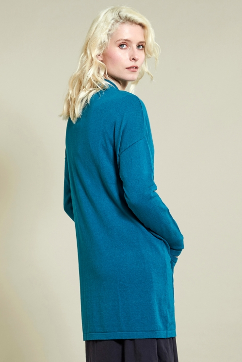 Long Pocket Cardi in Winter Turquoise - back view