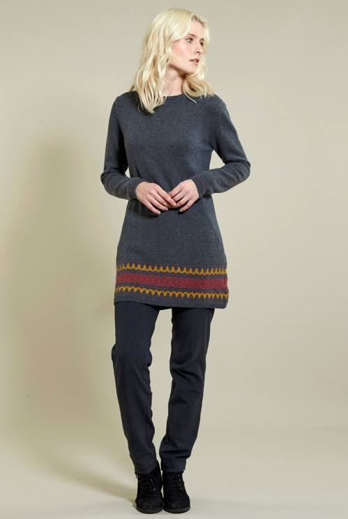 Jacquard Knit Jumper in 40% Wool 60% Cotton xtra view of Granite
