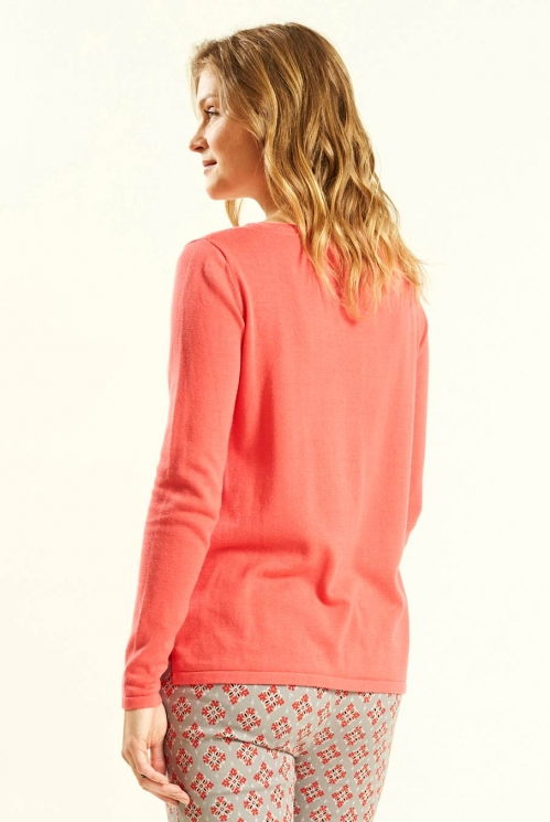 Pocket Jumper  in Guava - back view