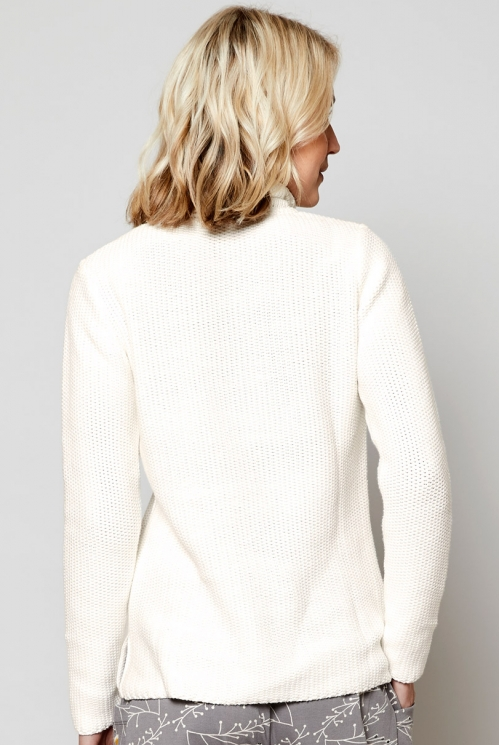 Ivory Fair Trade Ethically Made Textured Knit Turtle Neck Jumper