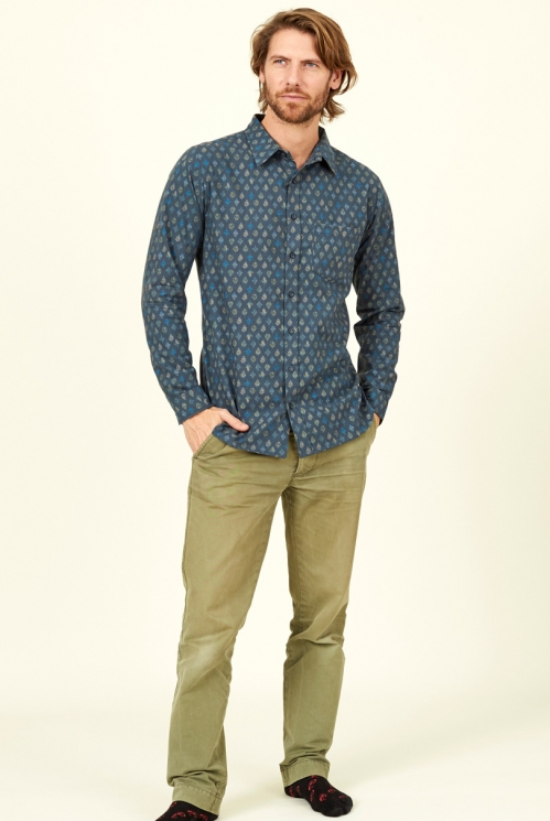 Biscay Blue Sustainable Leaf Long Sleeve Cotton Shirt