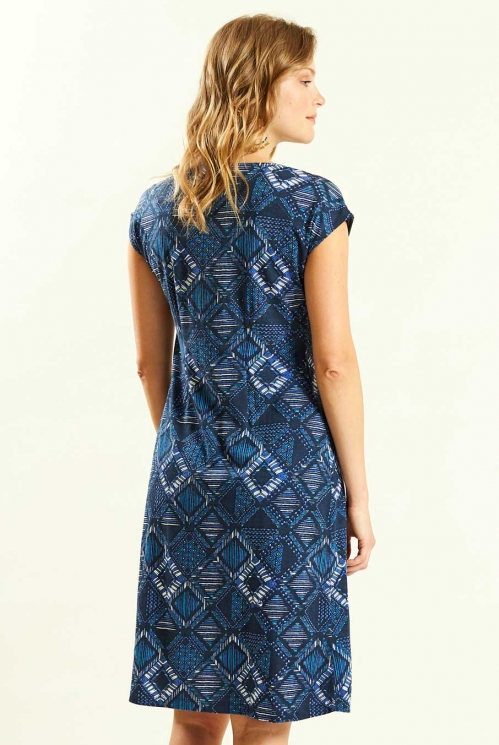 Fixed Wrap Dress in Navy - back view