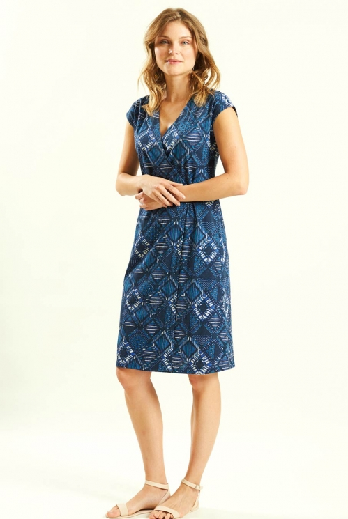 Fixed Wrap Dress in Organic Cotton Jersey xtra view of Navy