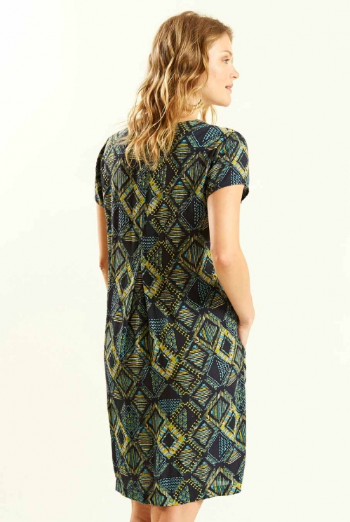Printed Tunic Dress in Slate - back view