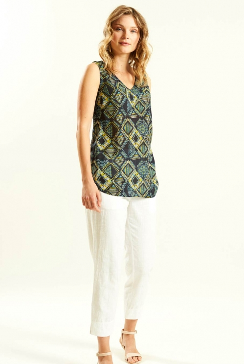 Printed Vest in Crinkle Viscose xtra view of Slate