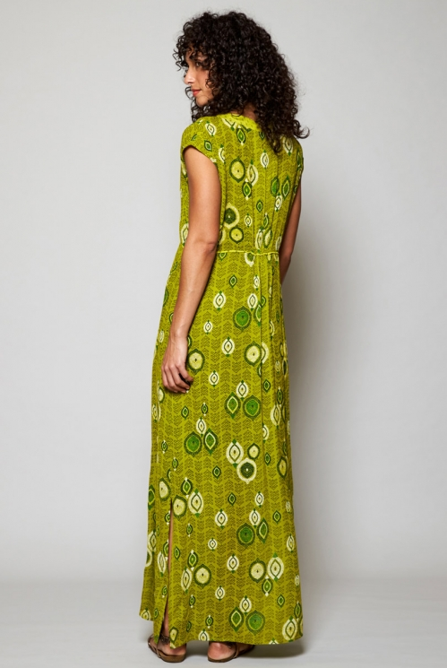 Ethically Made Citrus Green Zanzibar Printed Maxi Dress
