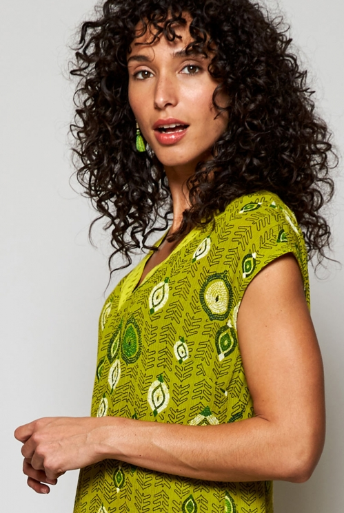 Citrus Green Ethically Made Zanzibar Printed Maxi Dress