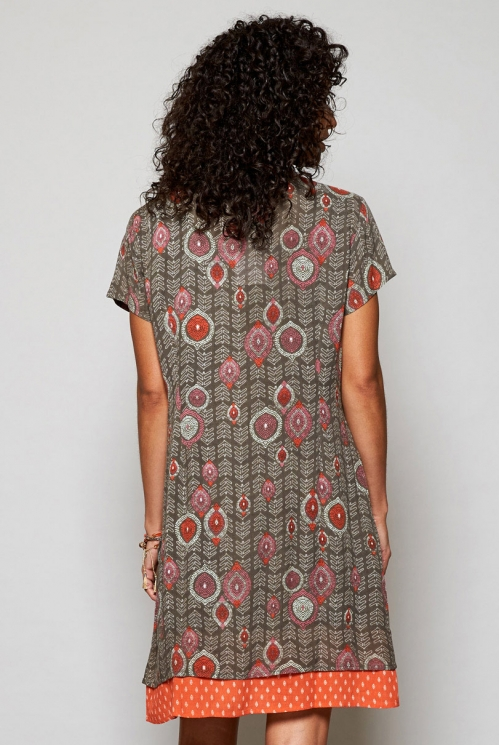 Sustainable Clay Brown Zanzibar Tunic Dress with Pockets
