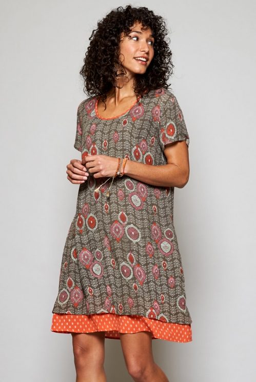 Fair Trade Clay Brown Zanzibar Tunic Dress with Pockets