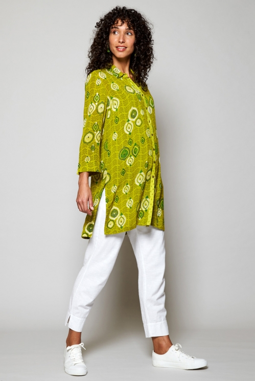 Sustainable Citrus Green Zanzibar Longline Tunic Shirt