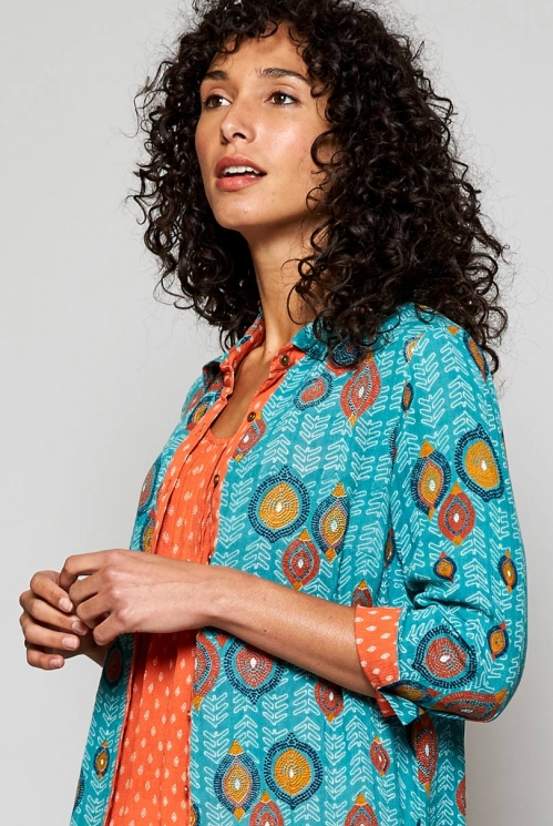 Sea Blue Fair Trade Zanzibar Longline Tunic Shirt