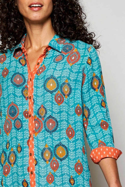 Ethically Made Sea Blue Zanzibar Longline Tunic Shirt