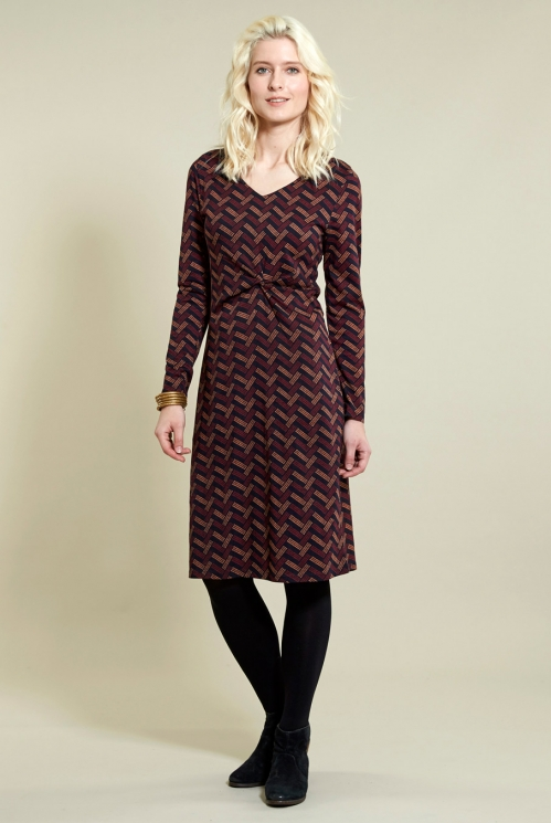 Twist Detail Fitted Dress in Organic Cotton Jersey xtra view of Navy