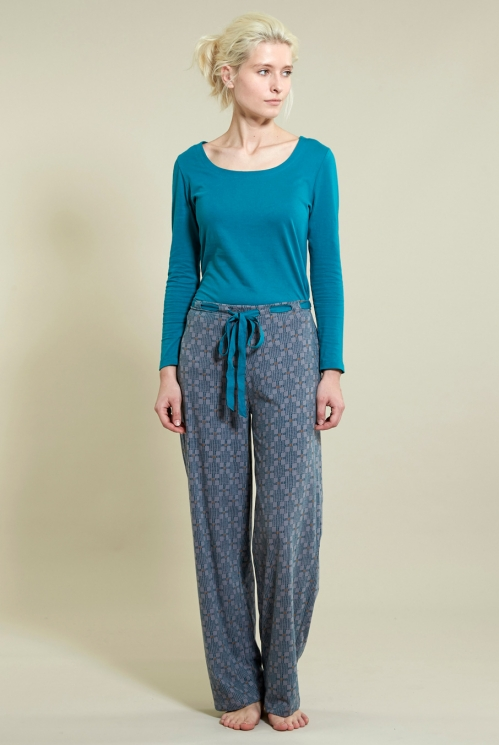 Pyjama Bottoms in Organic Brushed Cotton Jersey xtra view of Silver