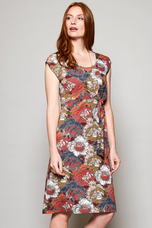 Ethically Made Rhubarb Red Petal Organic Cotton Tie Front Dress