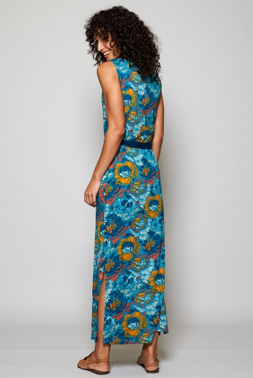 Ethically Made Turquoise Blue Organic Cotton Maxi Dress