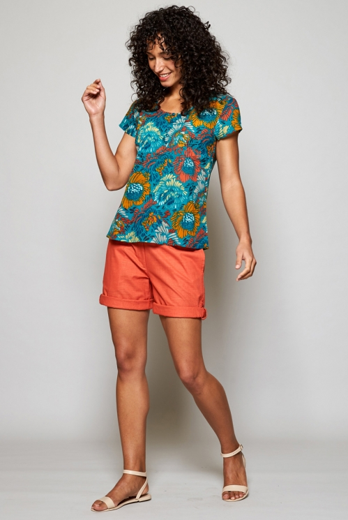Turquoise Blue Ethically Made Petal Cotton Summer Blouse