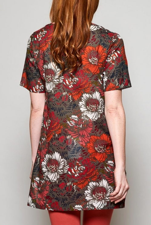 Fair Trade Rhubarb Red Petal Short Sleeve Cotton Tunic