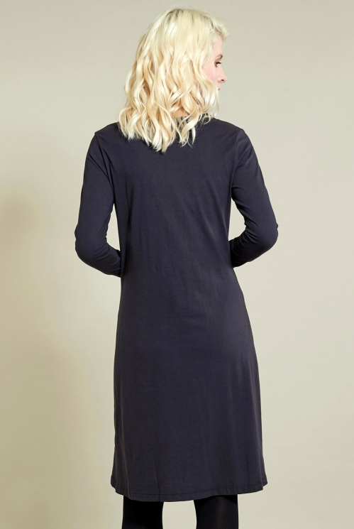 Twist Detail Dress in Coal - back view