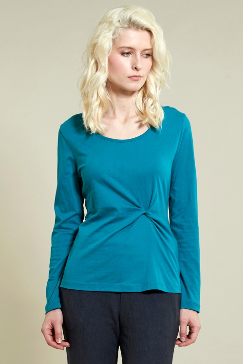 Winter Turquoise Twist Detail Top